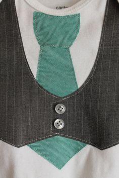 Baby Boy Tie and Vest Onesie