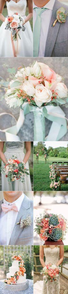 Coral & Mint. Classic Wedding Color Palette.