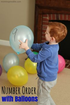Number Order with Balloons. Practice number identification and number order while playing with balloons!