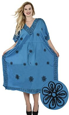 Womens Embroidered Swimwear Beach Dress Caftan Blue Beach Plain US 14  30W Valentines Day Gifts 2017 *** You can get additional details at the image link.(This is an Amazon affiliate link)