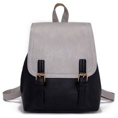 SheIn(sheinside) Double Buckle Two Tone Backpack ($17) ❤ liked on Polyvore featuring bags, backpacks, grey, grey backpack, grey bag, two tone bag, daypack bag and gray backpack