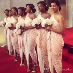 Bridesmaid Dresses 2018 Ruched Beach Wedding Party Guest Dresses Nude One Shoulder Front Split Junior Maid of Honor Dress Ankle-length Bridesmaid Dresses 2018, Brides And Bridesmaids, Wedding Party Dresses, Wedding Attire, Bridesmaid Hair, Maid Of Honour Dresses, Maid Of Honor, Marie, Dream Wedding