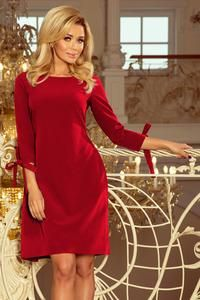 Alice elegant dress with flared bows on the sleeves and waist binding in burgundy. Spandex 5 % Polyester 95 % Size Round w hipsch Round w bust Round w waist L 136 cm 94 cm 90 cm M 132 cm 90 cm 86 cm S 126 cm 84 cm 80 cm XL 140 cm 98 cm 94 cm Moderne Outfits, Strapless Party Dress, Pants For Women, Clothes For Women, Long Sleeve Tunic, Burgundy Color, Dress With Bow, Party Gowns, Online Shopping Clothes