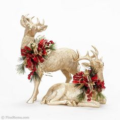 Embellished Deer- Available with different florals and ribbon. Rose Gold Christmas Decorations, Reindeer Decorations, Christmas Arrangements, Christmas Tablescapes, Rustic Christmas, Christmas Home, Christmas Wreaths, Xmas, Christmas Mantels