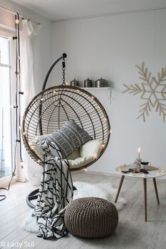 DIY snowflake from ice sticks – winter / Christmas wall decoration – lady-stil.de Shop the Look hanging chair * advertising There's a reason blue is a common favourite in bed room colors trends. Room Ideas Bedroom, Bedroom Decor, Bedroom Pics, Girl Bedroom Designs, Ikea Bedroom, Master Bedroom, Home Design, Interior Design, Design Ideas