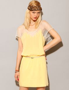 mellow yellow lace dress with flame bustline