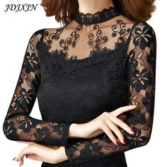 Cheap blouse fashion, Buy Quality blouses plus directly from China fashion blouses Suppliers: Plus Size 4XL Shirts Women 2016 Spring Autumn New Fashion Sexy Slim Mesh Hollow Lace Tops Long Sleeve Elegant Blouses JN877