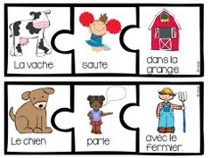 Farm Themed Sentence Builder Cards in French (la ferme) French Sentences, Silly Sentences, Writing Sentences, Kindergarten Literacy, Literacy Centers, Teaching French Immersion, Sight Word Centers, French Teaching Resources, Farm Unit