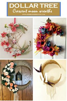 How to Make a Dollar Tree Crescent Moon Wreath - Debbiedoos Store Supply, Dollar Store Crafts, Dollar Tree, Moon, Wreaths, How To Make, The Moon, Door Wreaths, Deco Mesh Wreaths