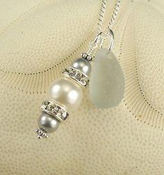 RARE Grey Sea Glass Necklace With Swarovski by seaglassgems4you, $46.00