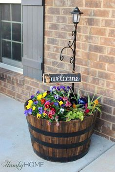 Best Country Decor Ideas for Your Porch - Whiskey Barrel Planter - Rustic Farmhouse Decor Tutorials and Easy Vintage Shabby Chic Home Decor for Kitchen, Living Room and Bathroom - Creative Country Crafts, Furniture, Patio Decor and Rustic Wall Art and Acc Country Farmhouse Decor, Country Crafts, Farmhouse Front, Farmhouse Style, Country Patio, Rustic Patio, Country Porches, Farmhouse Ideas, Country Living