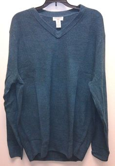 Just $29.99 FREE SHIP Dockers V-Neck Pullover Sweater Mens Big & Tall LT Large Heathered Teal NEW/NWT #DOCKERS #VNeck #mensSweater