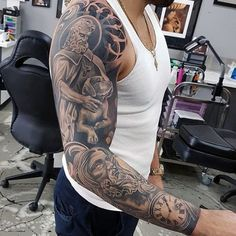 Awesome Mens Full Sleeve Jesus Tattoo Designs
