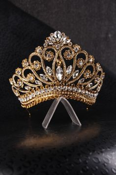 handmade princess bridal tiara crown, wedding tiara, crystal gold tiara handmade for order inlaid with brown SWAROVSKI Crystals Gold Tiara, Diamond Tiara, Royal Tiaras, Tiaras And Crowns, Royal Jewelry, Cute Jewelry, Wedding Accessories, Wedding Jewelry, Hair Accessories