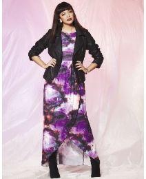 Galaxy Print High Low Dress