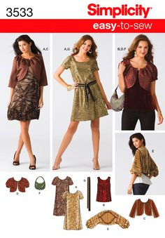 S3533 ** Simplicity Misses' Dress/Top/Jacket/Shrug/Belt/Bag ** FABRICS: Brocade, Satin, Taffeta, Velvet, Novelty Sequin Fabric; A, B, C, D, E also in Charmeuse, Jacquards, Sueded Silks/Rayons; C, D, E also in Lace, Eyelet, Double Georgette, Novelty Sheers; E also in Organza, Stretch Velvet, Novelty Knits.