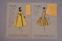 Christian Dior vellum stationery, for Peron dress and coat with personal notes to client Brenda Schulman, with swatch attached