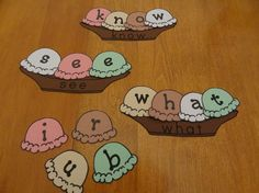 Sight word sundaes - each sundae boat has a word; kids use letter scoops to build them. From Kindergarten Lesson Plans. Teaching Sight Words, Sight Word Games, Sight Word Activities, Classroom Activities, Sight Word Centers, Classroom Ideas, Kindergarten Lesson Plans, Kindergarten Literacy, Activity Centers