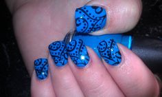 Blue base with hand painted nail art.