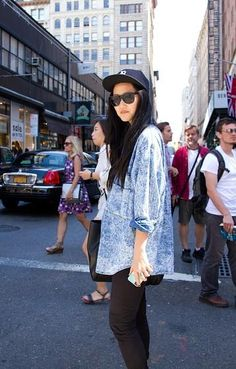 Baseball hat w/ long hair. Shades. Open button-up. Skinnies. // NYFW via Urban Outfitters.