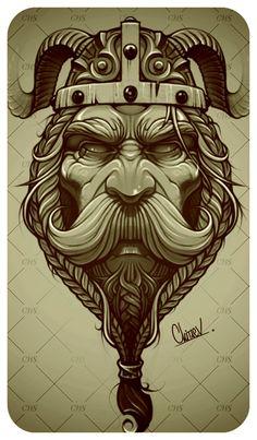 Eugene Chitaev on Behance Tatoo Art, Tattoo Drawings, Art Drawings, Norse Tattoo, Celtic Tattoos, Vikings, Tattoo Homme, Viking Drawings, Viking Warrior Tattoos