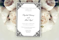 Printable Wedding invitation template Black Victorian by Oxee, $5.00