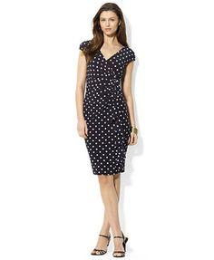 American Living Cap-Sleeve Polka-Dot Dress