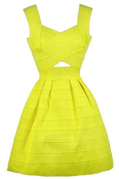 Lily Boutique Banded Together Cutout A-Line Dress in Bright Yellow, $42 Yellow A-Line Dress, Cute Yellow Dress, Yellow Party Dress, Yellow Cocktail Dress www.lilyboutique.com