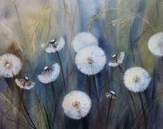 Sea of Hidden Wishes - Dandelions -  Blowballs - Dandelion clock – Dandelion - Watercolor by Olga Beliaeva Watercolours