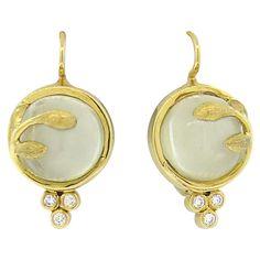 New Temple St. Clair Vine Moonstone Diamond 18k Gold Earrings