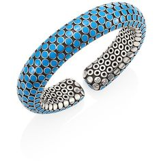 John Hardy Dot Small Sterling Silver Flex Cuff/Turquoise (17,615 MXN) ❤ liked on Polyvore featuring jewelry, bracelets, sterling silver turquoise jewelry, cuff jewelry, turquoise jewelry, sterling silver cuff bangle and john hardy jewelry