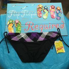 NWT bikini bottom by Hobie Super cute size large ties on both sides has ruffle like purple, black, and white all the way around Hobie Swim Bikinis