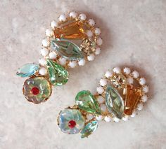 Hattie Carnegie Earrings Colorful Rhinestone Milk by cutterstone