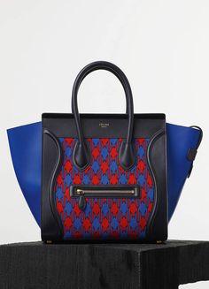 MINI LUGGAGE HANDBAG IN ELECTRIC BLUE DIAMOND JACQUARD - Spring / Summer Runway 2015 collections - Handbags | CÉLINE