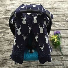 Navy Blue and White Deer Head Infant Canopy Cover with Navy Blue Minky