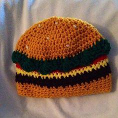 crochet Cheeseburger Hamburger Hat by KissedbytheMoonB on Etsy