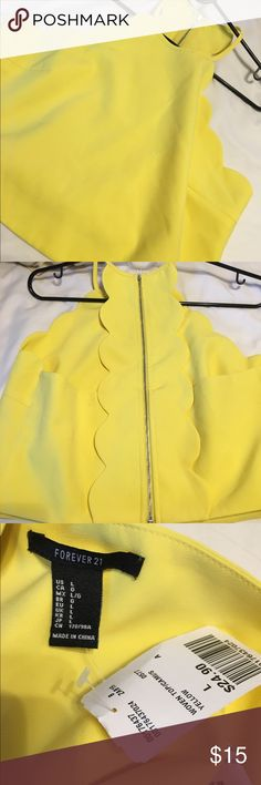 Gorgeous yellow crop top size large Gorgeous yellow crop top size large. Brand new with tags. Never worn. Get now just in time for spring ! Pride myself on fast shipping !! . Comes from non smoking home @ a great deal Forever 21 Tops