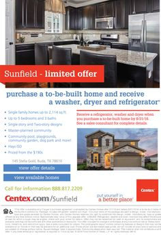 New Homes for Sale in Buda, Texas  Complimentary Appliance Package at Sunfield Extended Through August 31st!  Come and see these beautiful homes with a community pool, playgrounds, community garden, dog park and more!  http://www.centex.com/communities/tx/buda/sunfield/79677/index1.aspx#.V0iTYzjwuM9