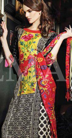 Yellow/Black Linen Salwar Kameez Dress $99.99 DESIGNER WINTER DRESSES Pakistani Indian Dresses Online, Men Women Clothing and Shoes | PakRobe.com