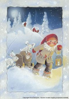 Secret Party Kaarina Toivanen Christmas Card Finland: Home & Kitchen. Swedish Christmas, Christmas Gnome, Scandinavian Christmas, Christmas Music, Winter Christmas, Christmas Crafts, Winter Snow, Vintage Christmas Cards, Xmas Cards