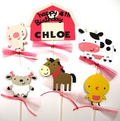 Items similar to Cute Pink Barn Girly Farm Animal Themed Party Centerpiece Sticks Set of 6 Personalized With Name and Age on Etsy Farm Party Decorations, Party Centerpieces, Party Themes, Party Ideas, Birthday Ideas, Birthday Parties, Cute Pink, Farm Animals, Charlotte