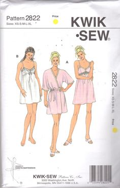 9a60f4fd27 Kwik Sew 2822 Misses Lingerie Empire Cupped Nightgown Wrap Robe Pattern  Womens Sewing Pattern Size XS S M L Xl Bust 31 - 45 UNCUT