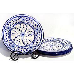 Set of 4 Azoura Design 11-inch Round Dinner Plates (Tunisia)