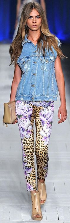 Animal print skinny jeas with floral and color with jean vest.....Cavalli S/S 2013