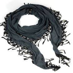 Triangle Scarf with Lace Fringe Knitting Scarf, Jewelry Beads Scarves Shawl * Learn more by visiting the image link.