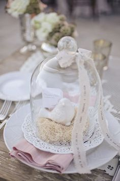 Lovely decor - sweet little bird figurine encased in a cloche