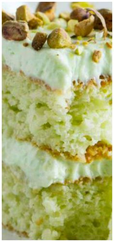 and Pistachio Pudding Cake Coconut and Pistachio Pudding Cake ~ Moist and flavorful. Topped with a creamy pistachio cream cheese frostingCoconut and Pistachio Pudding Cake ~ Moist and flavorful. Topped with a creamy pistachio cream cheese frosting Pistachio Pudding Cake, Pistachio Recipes, Pistachio Pudding Desserts, Pistachio Cheesecake, Pistachio Cupcakes, Coconut Pudding, Coconut Desserts, Just Desserts, Delicious Desserts