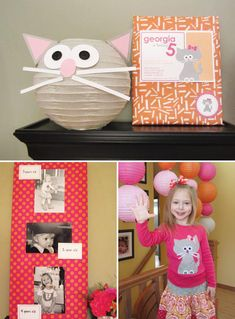 Cute Kitty Cat Party {Girls Birthday} Some really cute ideas on this site. I love this paper lantern. Also like the idea to hide fabric mice for the kids to find...I was thinking this could also be done in a sensory bin of rice, maybe.
