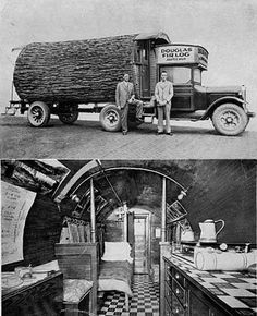 This one log home is set on a 3 ton truck. Quite cozy. (1920s)
