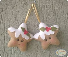 enfeite-de-natal-estrelinha3 Christmas Crafts To Make, Felt Christmas Decorations, Felt Christmas Ornaments, Christmas Star, Handmade Ornaments, Christmas Projects, Holiday Crafts, Holiday Decor, 242